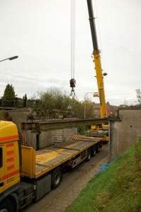 Uithijsen spoorwegbrug Schiffelderstraat Simpelveld